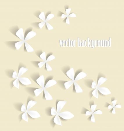 Romantic white flowers on a light background Illustration