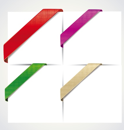 the corner colored ribbons on a white background Vector