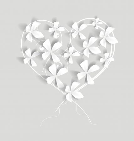 ちりばめたハート型の白い花  イラスト・ベクター素材