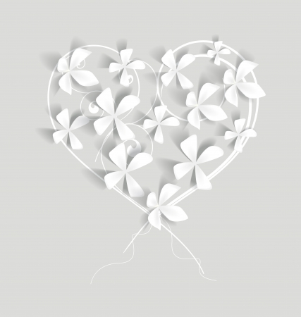 wedding card design: white flowers studded with heart-shaped