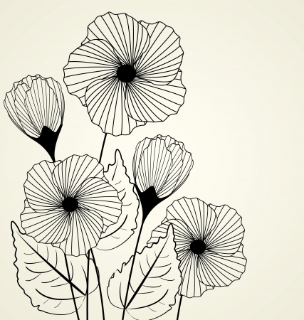 Silhouette of garden flowers in the background Ilustracja