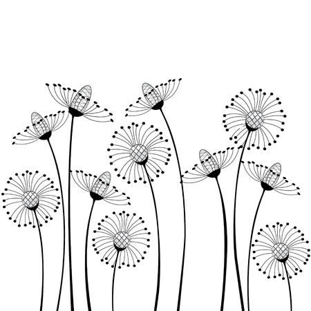 dessin noir blanc: fleurs des champs sur fond blanc Illustration