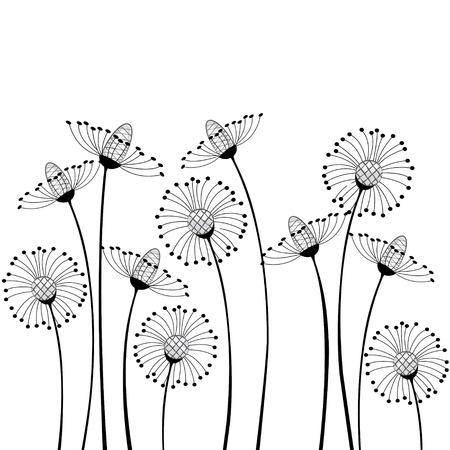 zwart wit tekening: weide bloemen op witte achtergrond