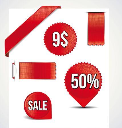corner tab: Set of sale  labels, stamps, stickers, corners Illustration