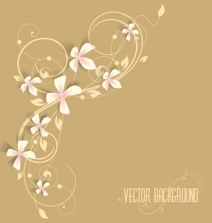beautiful floral background with pink flowers Vector