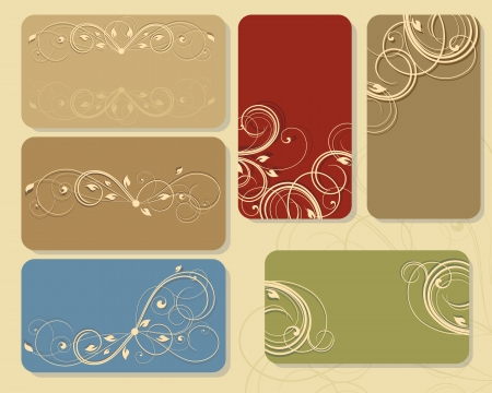 set of floral business cards or tags Vector