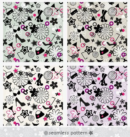 seamless fashion pattern set in multiple colors Vector
