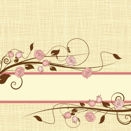 decoration with roses on a textile background Vector
