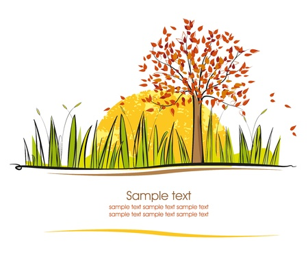 autumn landscape with the sun on a white background Stock Vector - 14271306