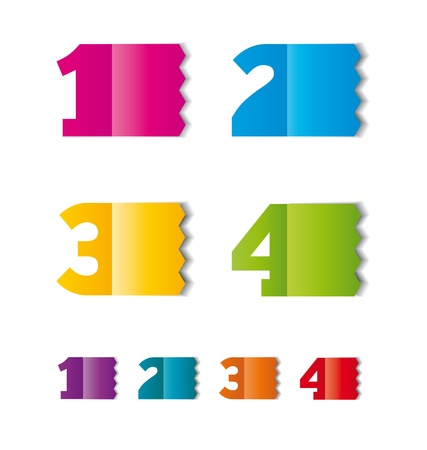 color paper tag or label  with numbers  Vector
