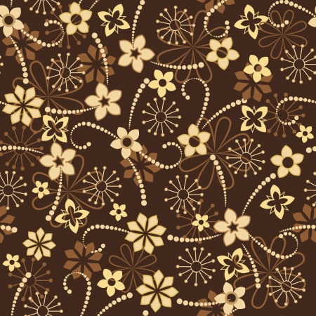 seamless floral pattern on a brown background Vector