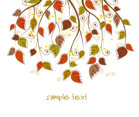branch with autumn colored leaves Vector