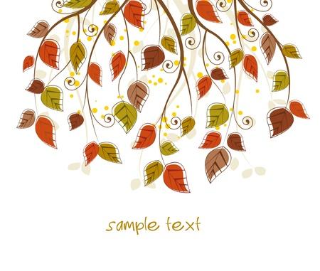arbre automne: branche avec les feuilles d'automne color�es