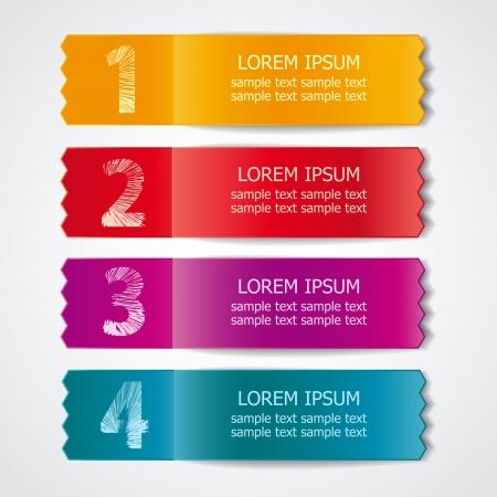 etiquetas redondas: Vector conjunto de cintas de colores para las opciones de muestra diferentes