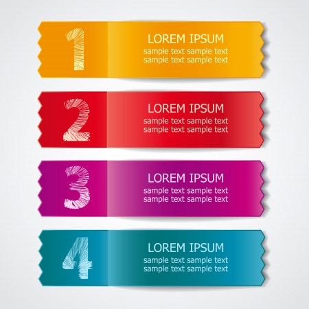 sticker: Vector set of colored ribbons for different sample options Illustration