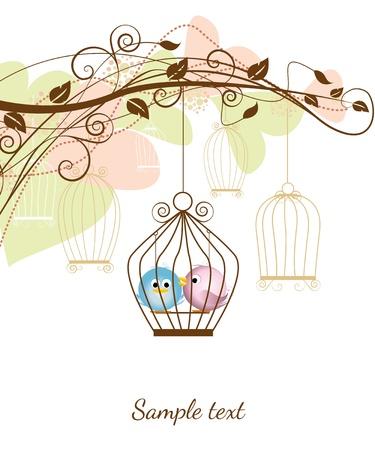 декоративная ветви с птицами в клетке
