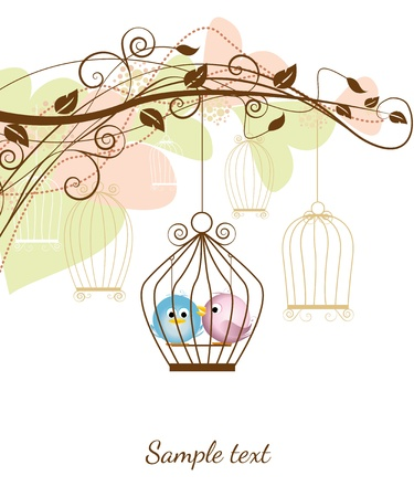 cartoon wedding: decorative branches with a birds in a cage