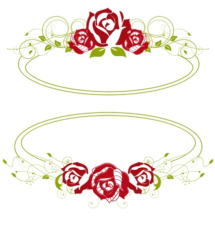 red roses in a green frame Vector
