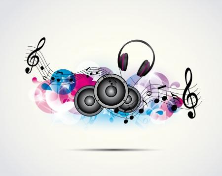 gekleurde achtergrond muziek met een hoofdtelefoon en luidsprekers