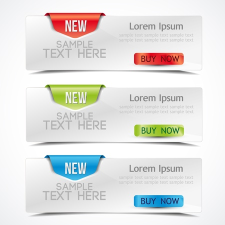 banner on the product description with a space for text Stock Vector - 14398396