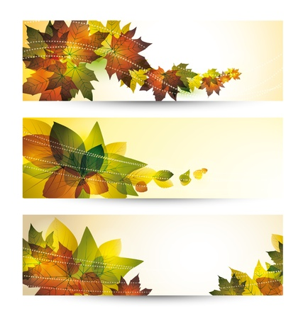 fall border: hundred autumn banners with place for text