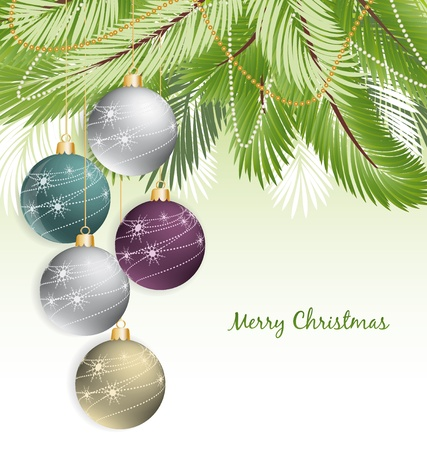 x mas: Christmas background with decorated branches of Christmas tree  Illustration