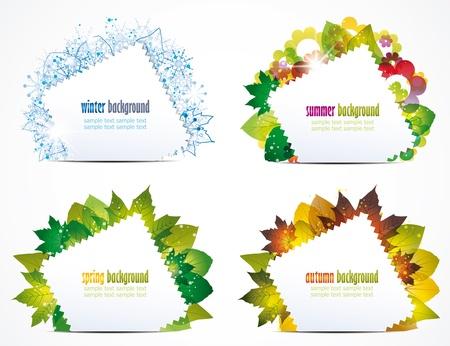estaciones del a�o: ilustraci�n vectorial de un par de temporadas del a�o
