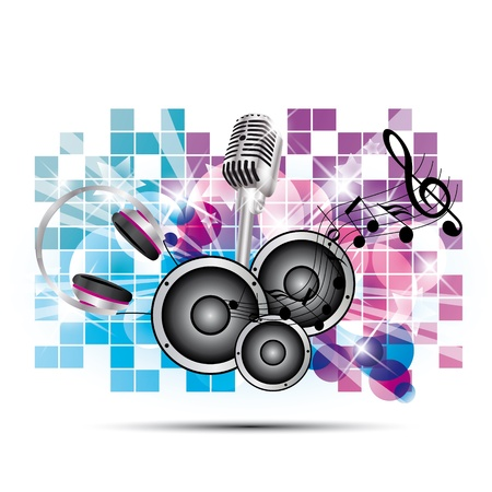 colored background music with headphones and speakers, microphone Vector