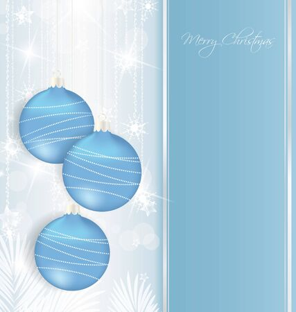 elegant Christmas background with blue baubles  Stock Vector - 14553297