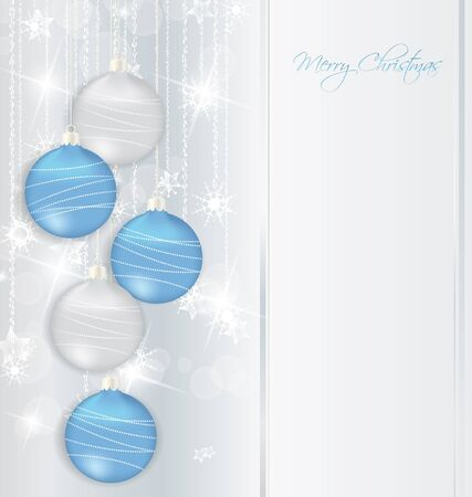 seasonal greetings: elegant Christmas background with blue and silwer  baubles