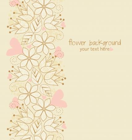 Красивые цветочные иллюстрации на светло-коричневый фон