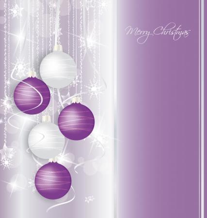элегантный фон Рождество с фиолетовыми и белыми шарами