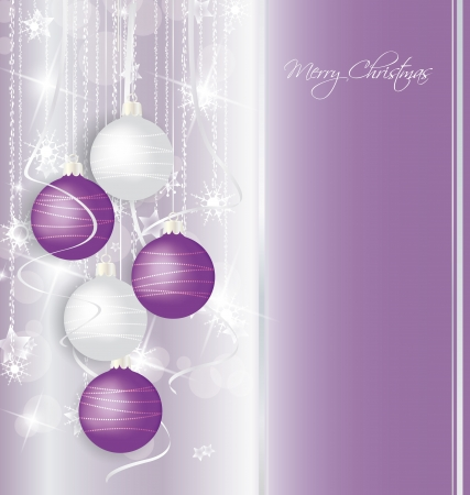 elegant Christmas background with purple and white  balls Vector