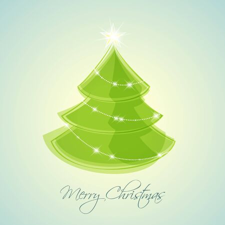 green Christmas tree on blue background Vector