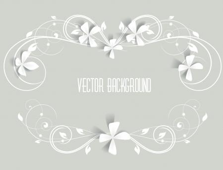 aniversario de bodas: marco floral sobre un fondo gris