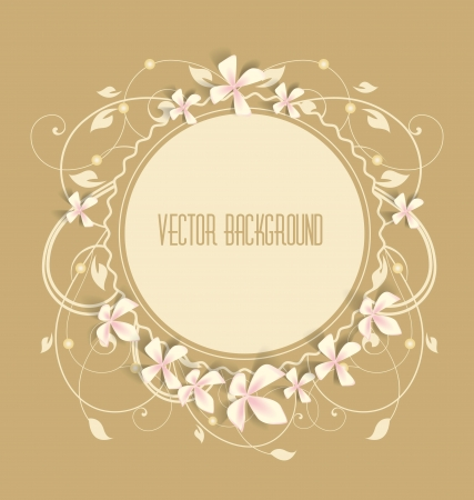 Vintage floral background  Beautiful frame with flowers  Vector