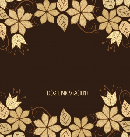 brown background: Beautiful  flowers frame on a brown background