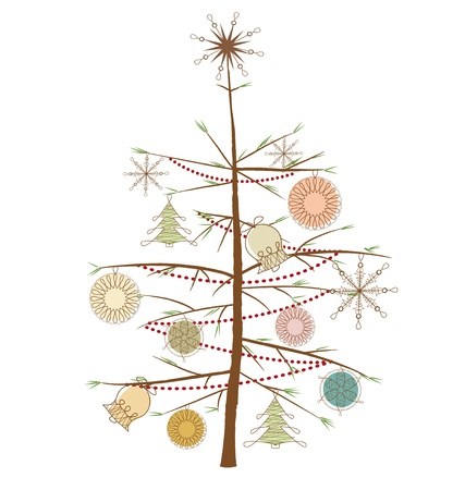 Christmas tree with ornaments on a white background Vector