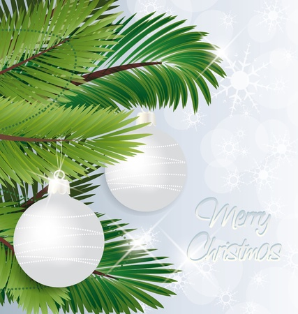 Christmas background with baubles and christmas tree  Vector
