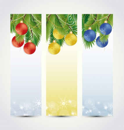 branching: Set the background with Christmas balls and branching Illustration