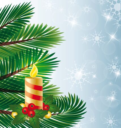 Christmas candle on the tree with the mistletoe Vector