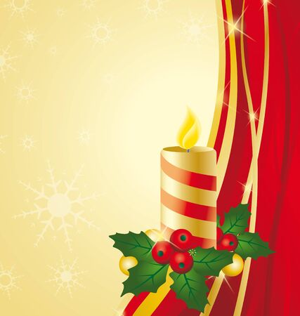 Background Christmas theme with candle Vector