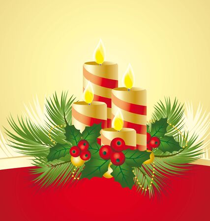 four candles decorated in a festive Christmas decoration Vector