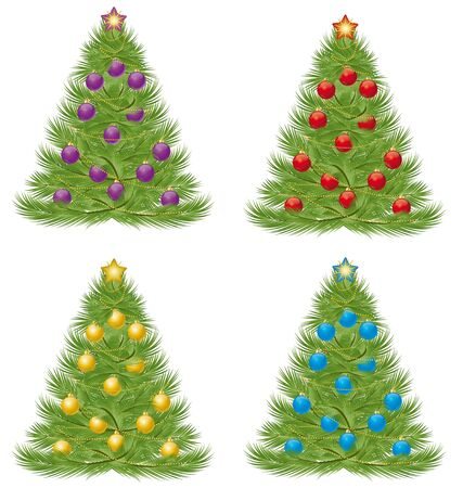 Christmas tree in multiple colors on a white background Vector