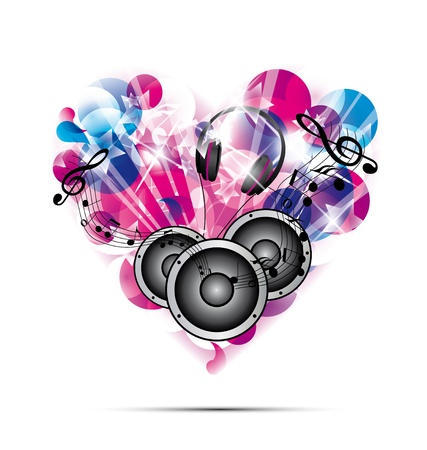 Love for music concept illustration on white background Vector