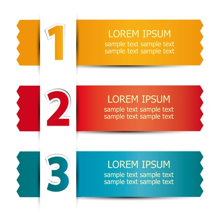 numbered ribbons with space for text Vector