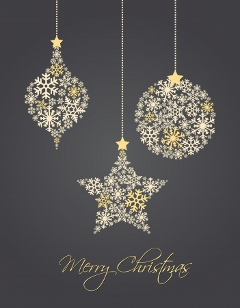 vacaciones: Adornos de Navidad hechas de los copos de nieve ilustración Vectores