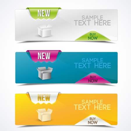 Set of colorful banners horizontal for product description