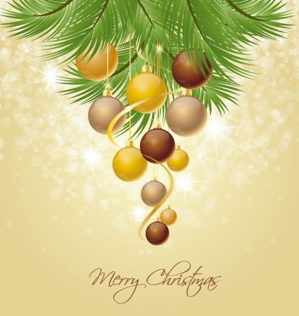 Christmas balls on green spruce branch  Vector