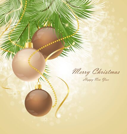 Christmas background decorated with branches  Vector